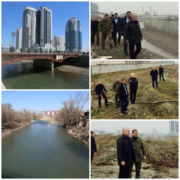 Муслим Хучиев проинспектировал состояние берега Сунжи