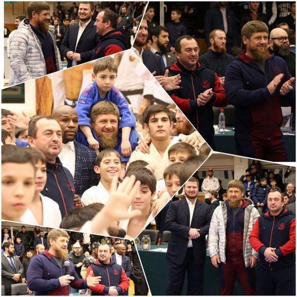 Р. Кадыров и Ф. Мейвезер-младший встретились с дзюдоистами