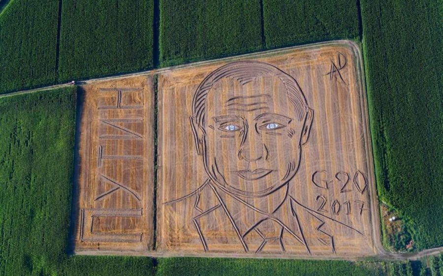 Фермер из Италии нарисовал на поле портрет Путина